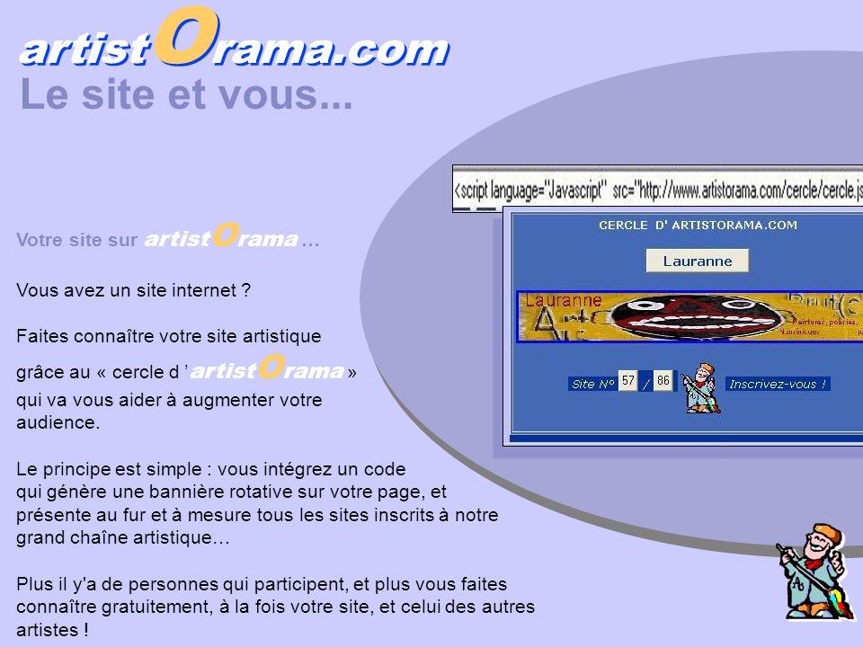 Votre site sur artist O rama … Vous avez un site internet ? Faites connaître votre site artistique grâce au « cercle d artist O rama » qui va vous aid