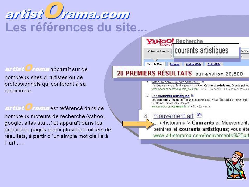 artist O rama.com Les références du site... artist O rama apparaît sur de nombreux sites d artistes ou de professionnels qui confèrent à sa renommée.