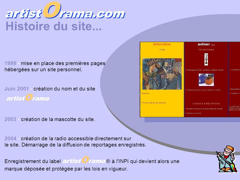 artist O rama.com Histoire du site... 1999 - mise en place des premières pages hébergées sur un site personnel. Juin 2001 - création du nom et du site