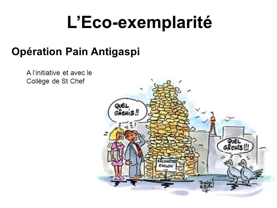 LEco-exemplarité Opération Pain Antigaspi A linitiative et avec le Collège de St Chef