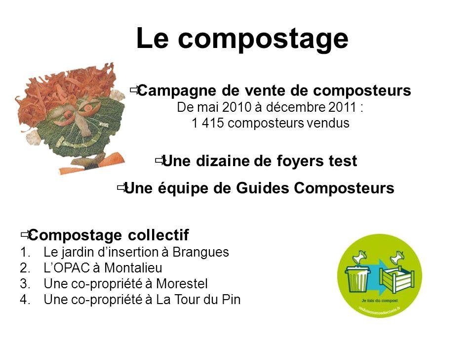 Le compostage Campagne de vente de composteurs De mai 2010 à décembre 2011 : 1 415 composteurs vendus Une dizaine de foyers test Une équipe de Guides