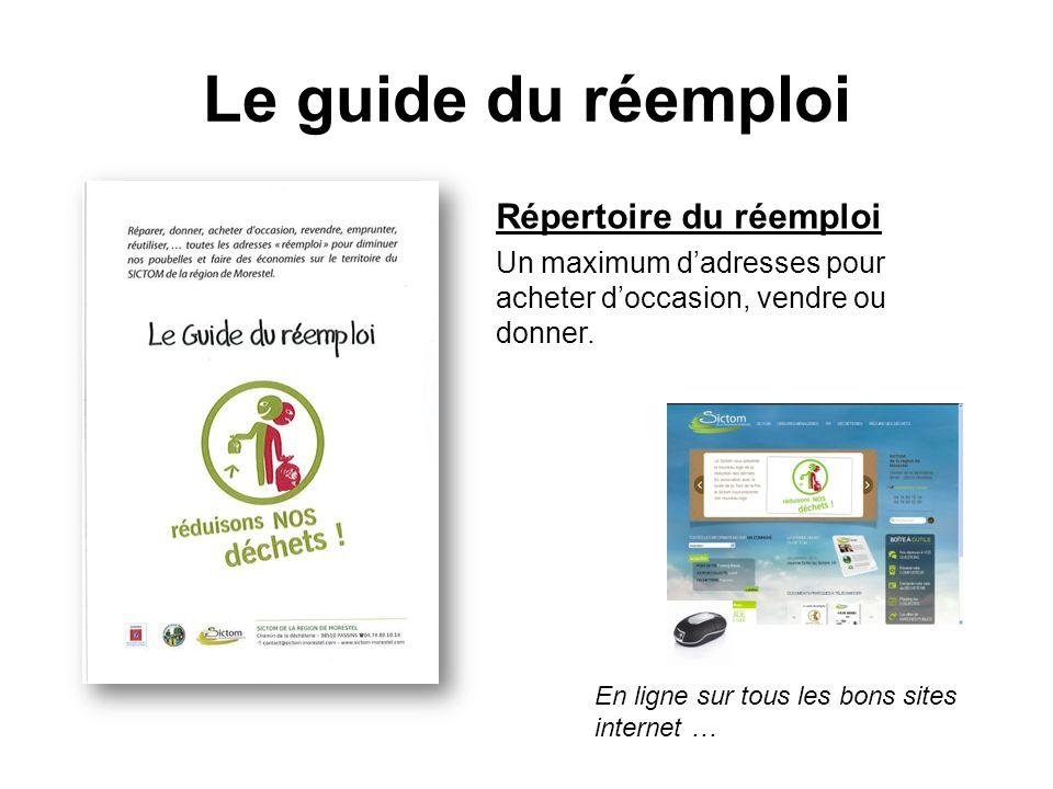 Le guide du réemploi Répertoire du réemploi Un maximum dadresses pour acheter doccasion, vendre ou donner. En ligne sur tous les bons sites internet …