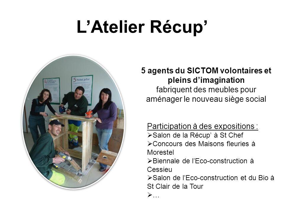 LAtelier Récup 5 agents du SICTOM volontaires et pleins dimagination fabriquent des meubles pour aménager le nouveau siège social Participation à des