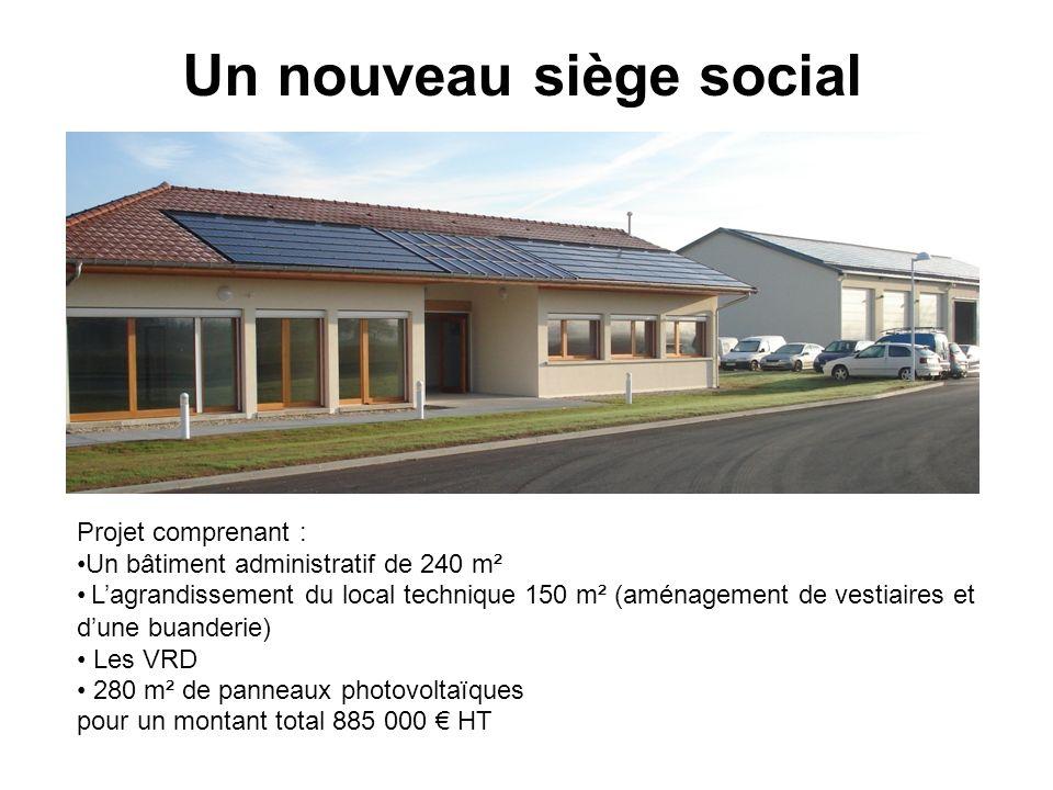Un nouveau siège social Projet comprenant : Un bâtiment administratif de 240 m² Lagrandissement du local technique 150 m² (aménagement de vestiaires e