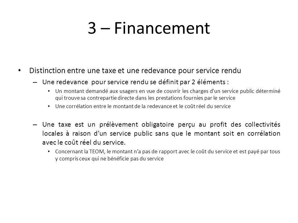 3 – Financement Distinction entre une taxe et une redevance pour service rendu – Une redevance pour service rendu se définit par 2 éléments : Un monta