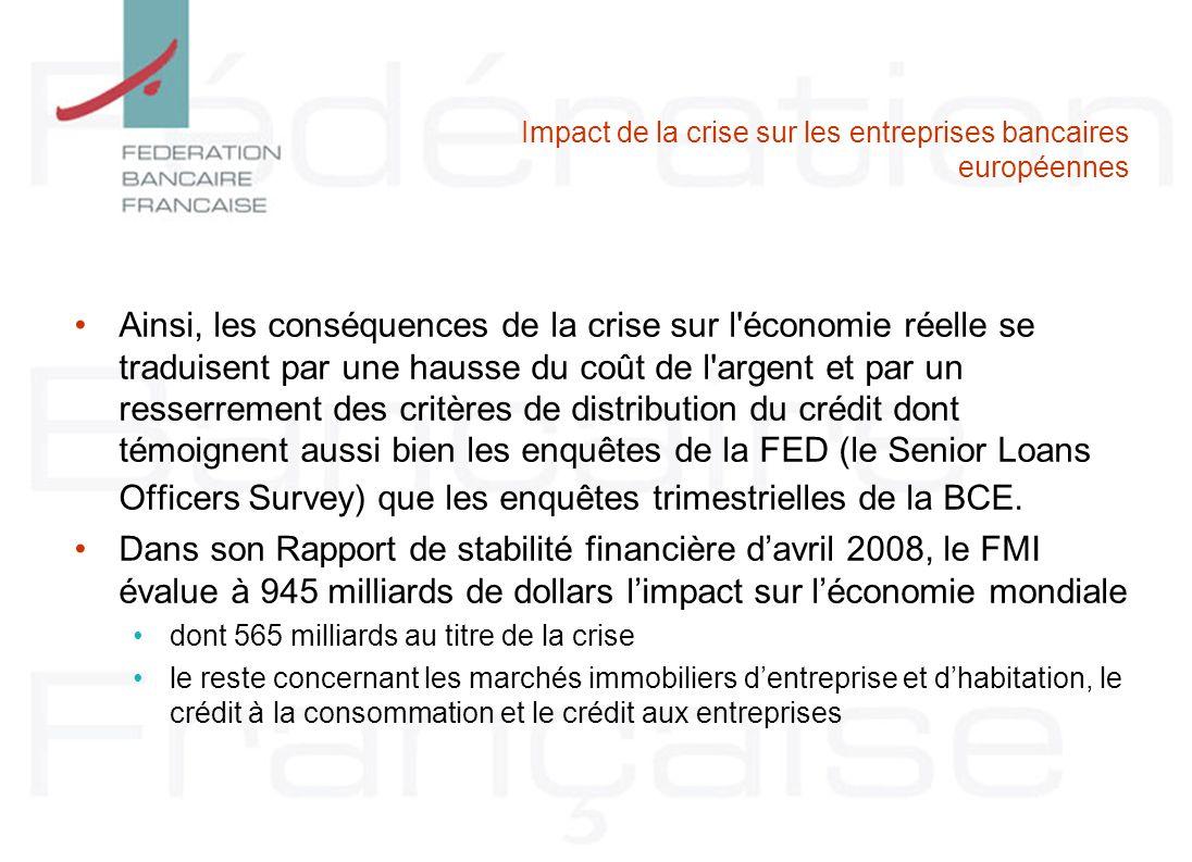 Impact de la crise sur les entreprises bancaires européennes Ainsi, les conséquences de la crise sur l'économie réelle se traduisent par une hausse du