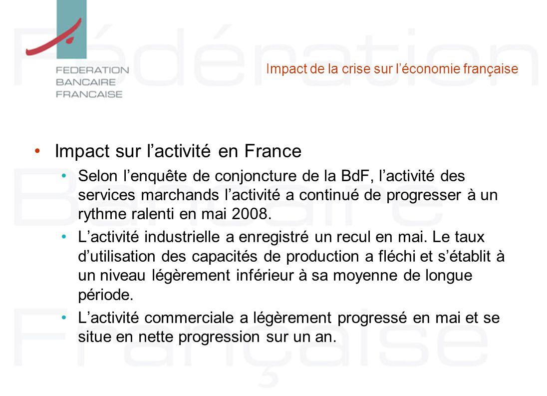 Impact de la crise sur léconomie française Impact sur lactivité en France Selon lenquête de conjoncture de la BdF, lactivité des services marchands la