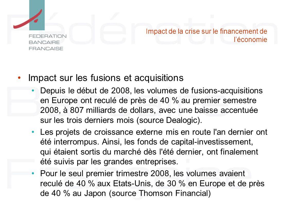 Impact de la crise sur le financement de léconomie Impact sur les fusions et acquisitions Depuis le début de 2008, les volumes de fusions-acquisitions