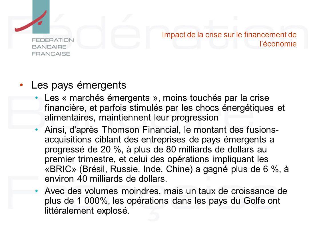 Impact de la crise sur le financement de léconomie Les pays émergents Les « marchés émergents », moins touchés par la crise financière, et parfois sti