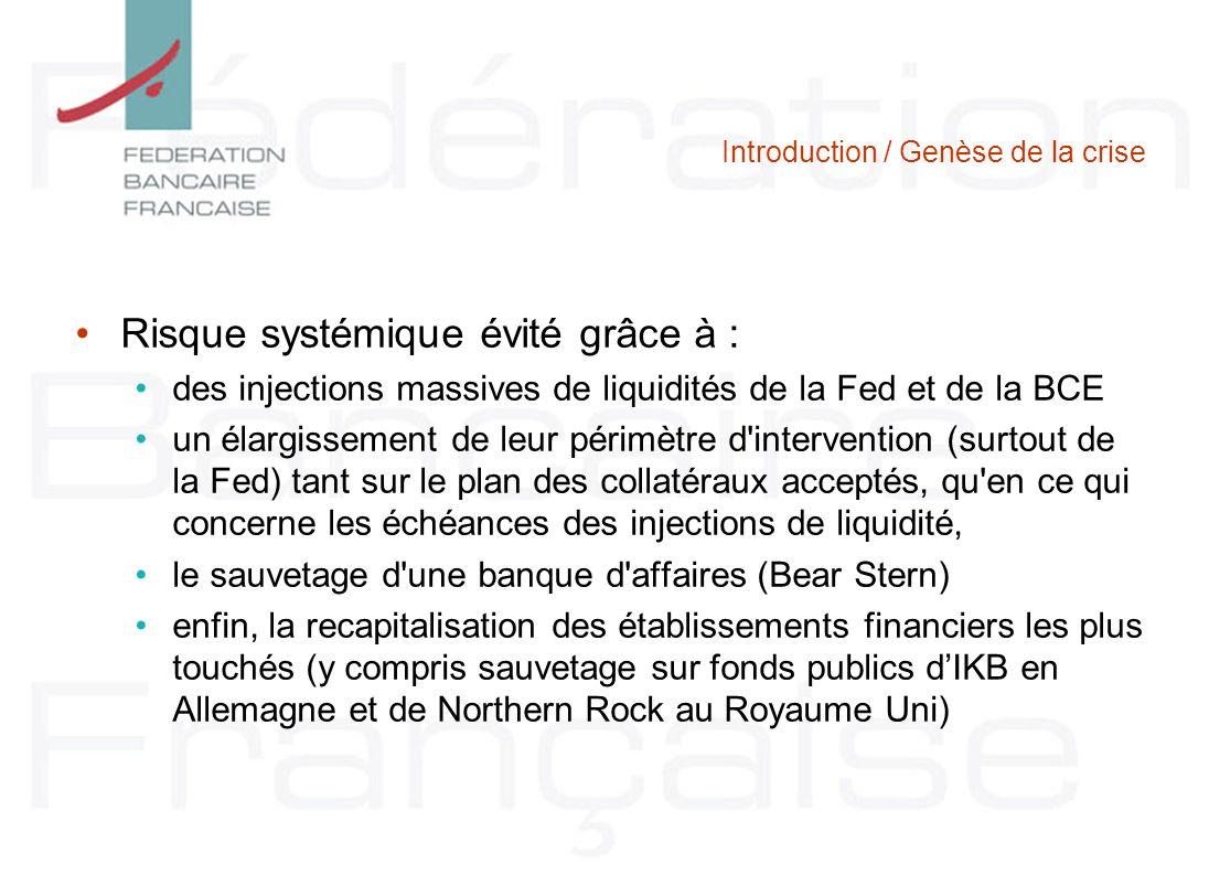 Introduction / Genèse de la crise Risque systémique évité grâce à : des injections massives de liquidités de la Fed et de la BCE un élargissement de l
