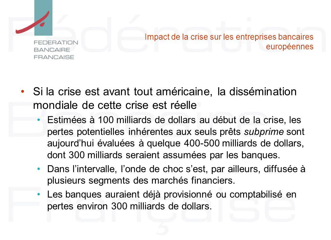 Impact de la crise sur les entreprises bancaires européennes Si la crise est avant tout américaine, la dissémination mondiale de cette crise est réell
