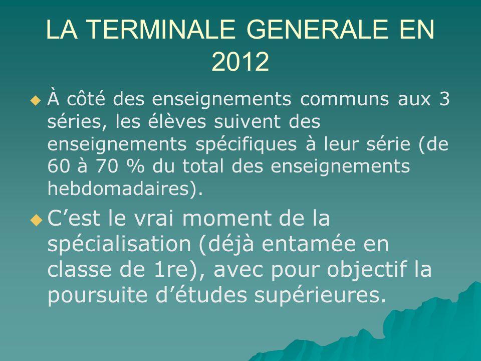 LA TERMINALE GENERALE EN 2012 À côté des enseignements communs aux 3 séries, les élèves suivent des enseignements spécifiques à leur série (de 60 à 70