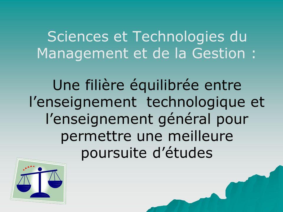 Sciences et Technologies du Management et de la Gestion : Une filière équilibrée entre lenseignement technologique et lenseignement général pour perme