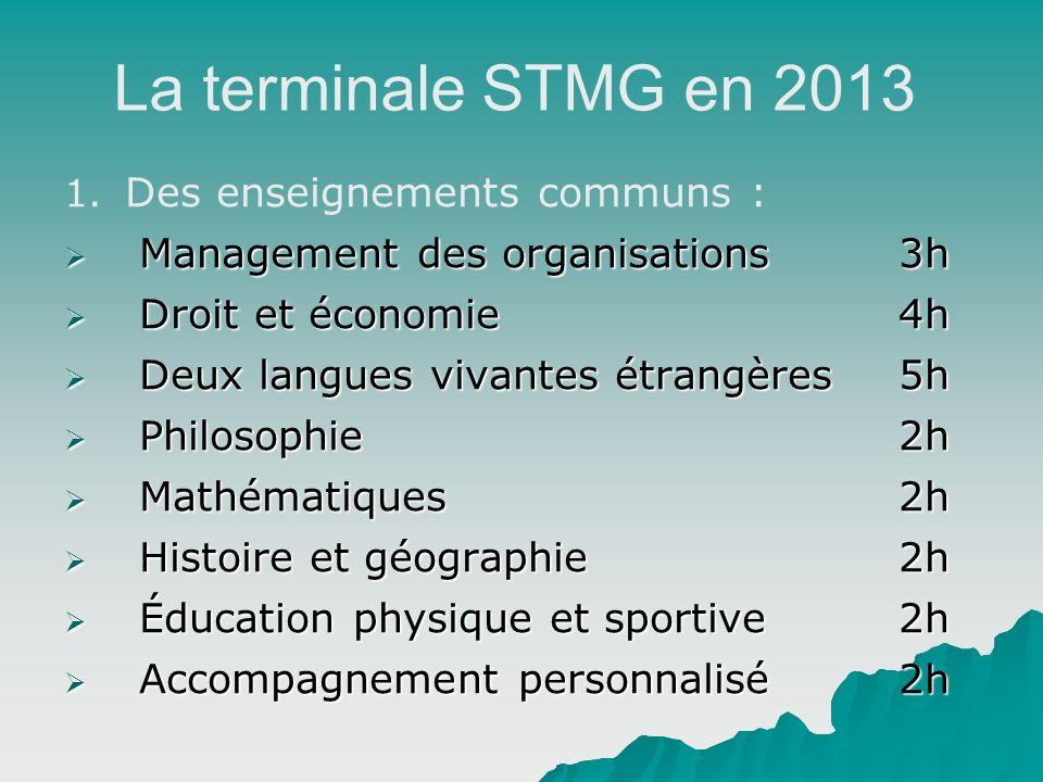 La terminale STMG en 2013 1. 1. Des enseignements communs : Management des organisations3h Management des organisations3h Droit et économie4h Droit et