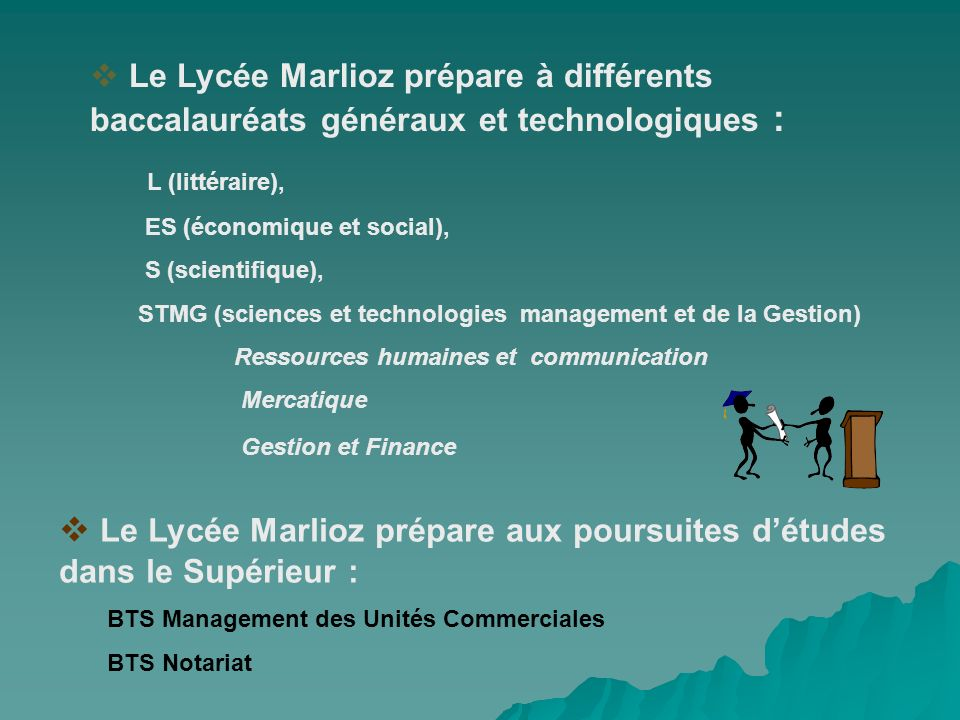 Le Lycée Marlioz prépare à différents baccalauréats généraux et technologiques : L (littéraire), ES (économique et social), S (scientifique), STMG (sc