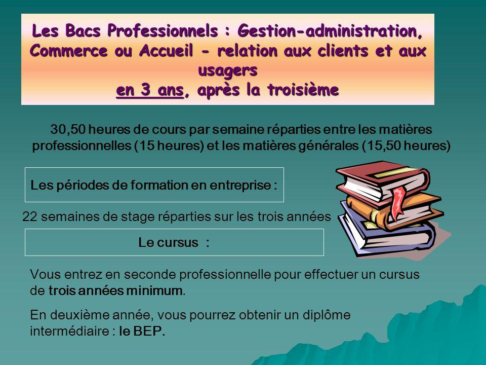Les périodes de formation en entreprise : 22 semaines de stage réparties sur les trois années Les Bacs Professionnels : Gestion-administration, Commer