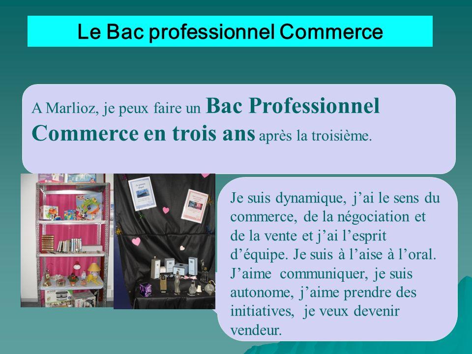 Le Bac professionnel Commerce A Marlioz, je peux faire un Bac Professionnel Commerce en trois ans après la troisième. Je suis dynamique, jai le sens d