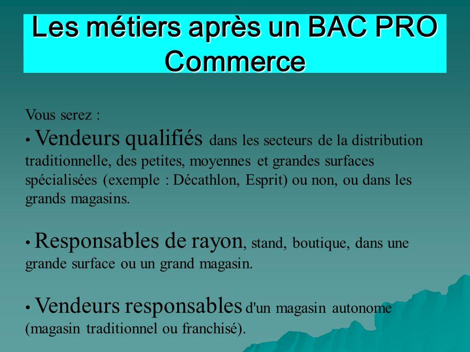 Vous serez : Vendeurs qualifiés dans les secteurs de la distribution traditionnelle, des petites, moyennes et grandes surfaces spécialisées (exemple :
