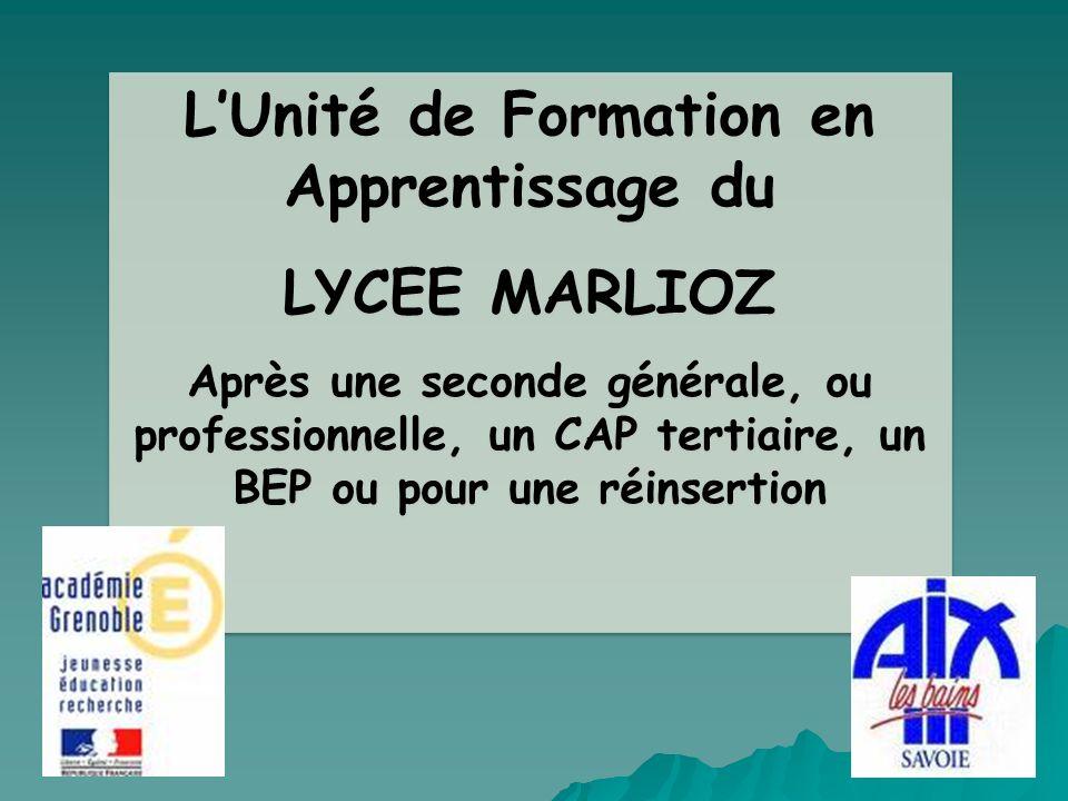 LUnité de Formation en Apprentissage du LYCEE MARLIOZ Après une seconde générale, ou professionnelle, un CAP tertiaire, un BEP ou pour une réinsertion