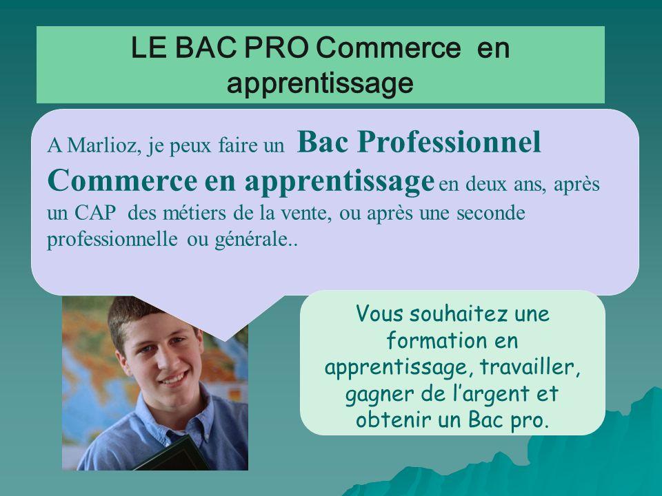 LE BAC PRO Commerce en apprentissage A Marlioz, je peux faire un Bac Professionnel Commerce en apprentissage en deux ans, après un CAP des métiers de
