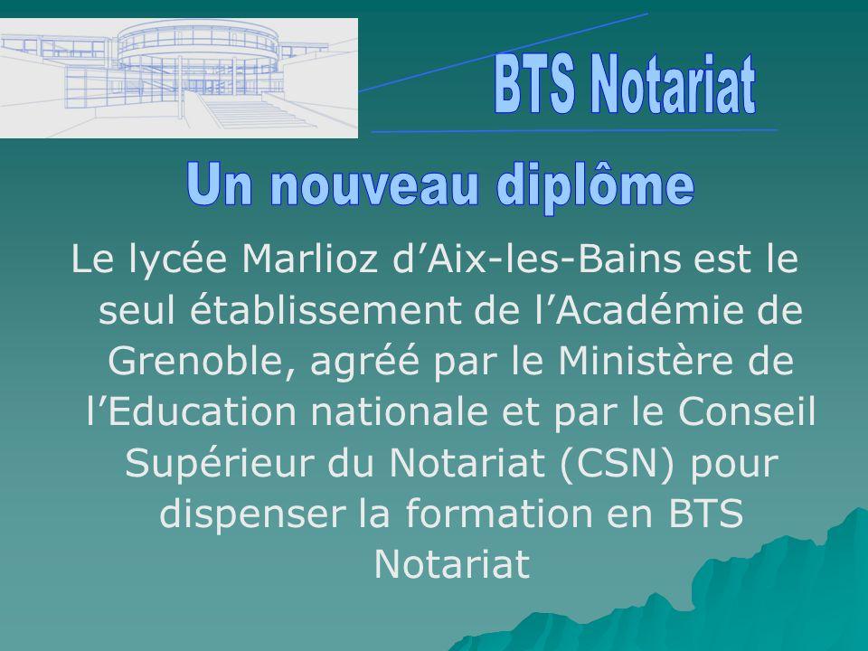 Le lycée Marlioz dAix-les-Bains est le seul établissement de lAcadémie de Grenoble, agréé par le Ministère de lEducation nationale et par le Conseil S