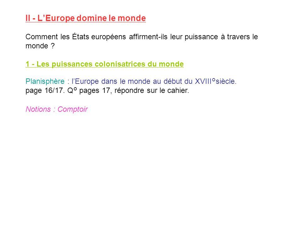 II - LEurope domine le monde Comment les États européens affirment-ils leur puissance à travers le monde ? 1 - Les puissances colonisatrices du monde