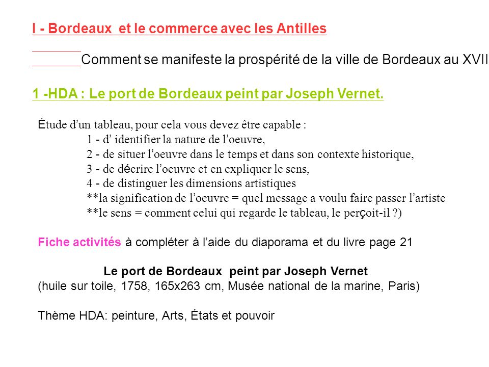 I - Bordeaux et le commerce avec les Antilles Comment se manifeste la prospérité de la ville de Bordeaux au XVIII°s ? 1 -HDA : Le port de Bordeaux pei