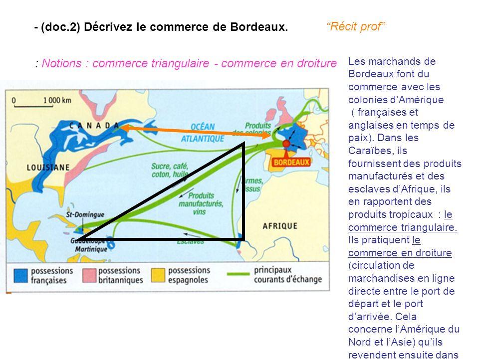 - (doc.2) Décrivez le commerce de Bordeaux. : Notions : commerce triangulaire - commerce en droiture Récit prof Les marchands de Bordeaux font du comm