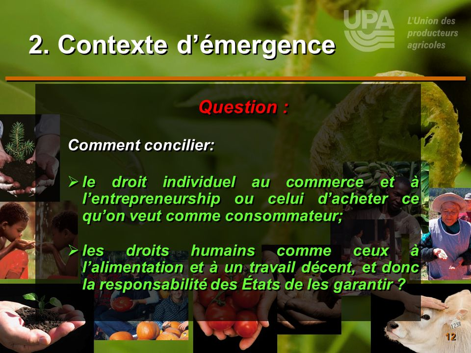 12 2. Contexte démergence Question : Comment concilier: le droit individuel au commerce et à lentrepreneurship ou celui dacheter ce quon veut comme co