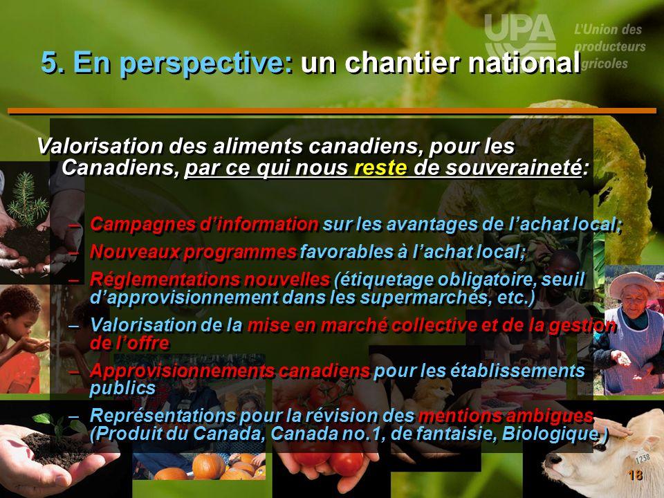 18 5. En perspective: un chantier national Valorisation des aliments canadiens, pour les Canadiens, par ce qui nous reste de souveraineté: –Campagnes