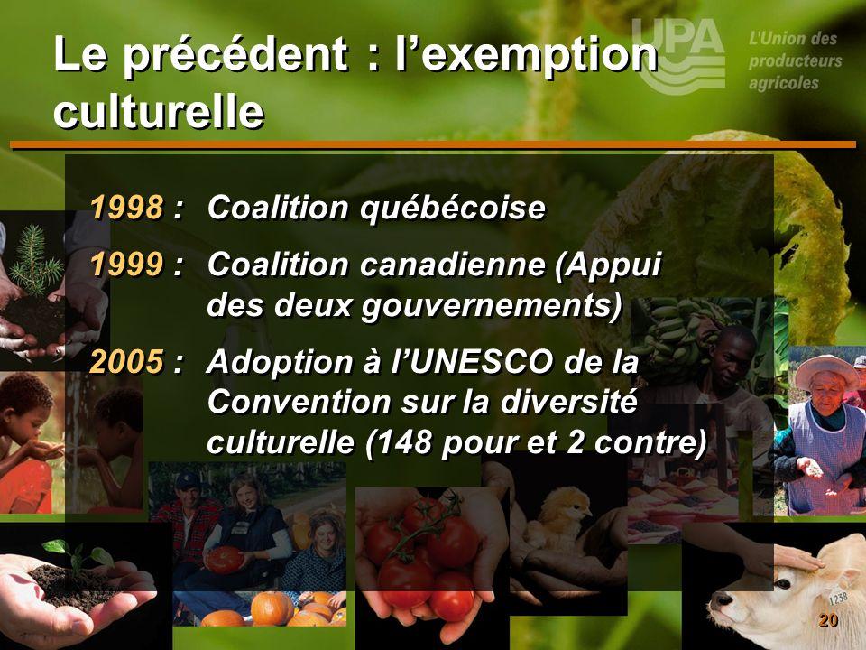 20 Le précédent : lexemption culturelle 1998 : Coalition québécoise 1999 : Coalition canadienne (Appui des deux gouvernements) 2005 : Adoption à lUNES