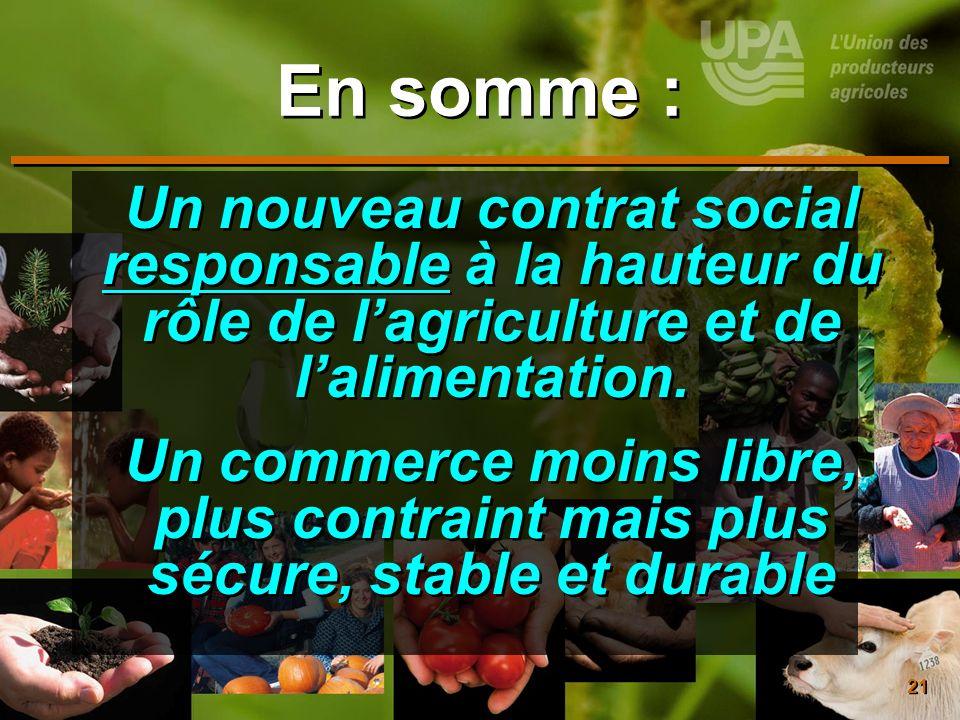 21 En somme : Un nouveau contrat social responsable à la hauteur du rôle de lagriculture et de lalimentation. Un commerce moins libre, plus contraint