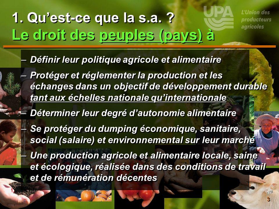 3 1. Quest-ce que la s.a. ? Le droit des peuples (pays) à –Définir leur politique agricole et alimentaire –Protéger et réglementer la production et le