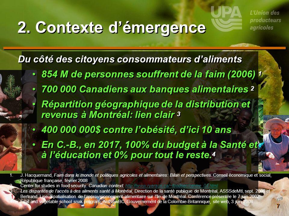 7 2. Contexte démergence Du côté des citoyens consommateurs daliments 854 M de personnes souffrent de la faim (2006) 1 700 000 Canadiens aux banques a