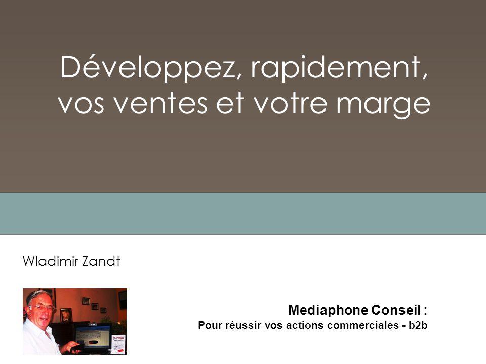 Développez, rapidement, vos ventes et votre marge Wladimir Zandt Mediaphone Conseil : Pour réussir vos actions commerciales - b2b