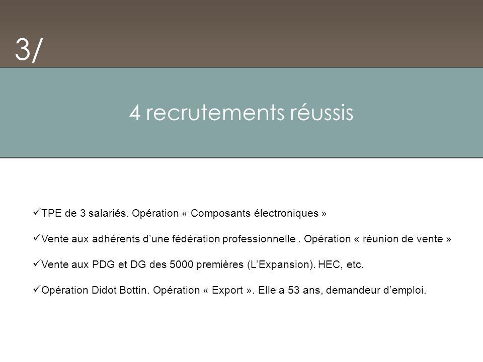 4 recrutements réussis 3/ TPE de 3 salariés. Opération « Composants électroniques » Vente aux adhérents dune fédération professionnelle. Opération « r