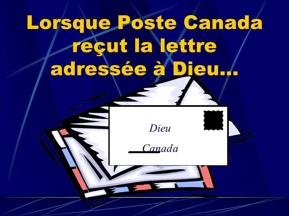Lorsque Poste Canada reçut la lettre adressée à Dieu… Dieu Canada