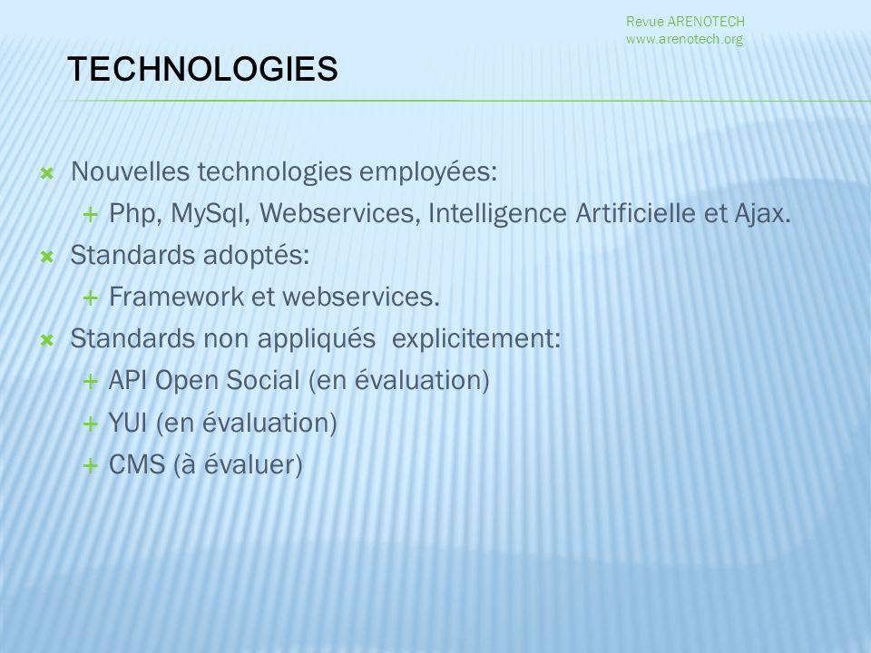 Nouvelles technologies employées: Php, MySql, Webservices, Intelligence Artificielle et Ajax.