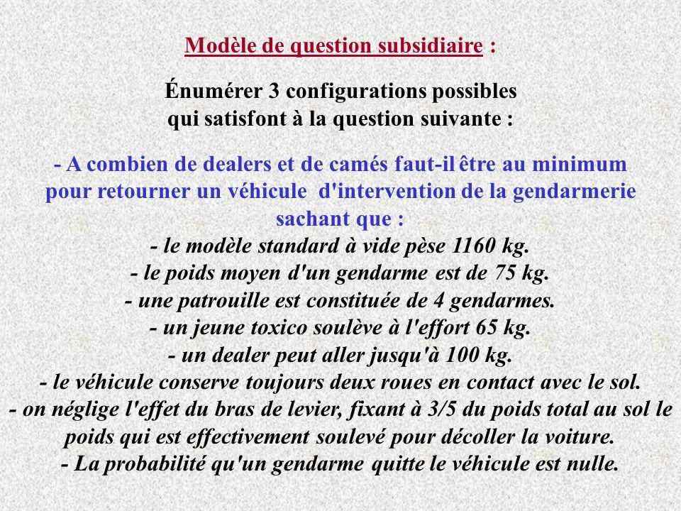 Modèle de question subsidiaire : Énumérer 3 configurations possibles qui satisfont à la question suivante : - A combien de dealers et de camés faut-il être au minimum pour retourner un véhicule d intervention de la gendarmerie sachant que : - le modèle standard à vide pèse 1160 kg.