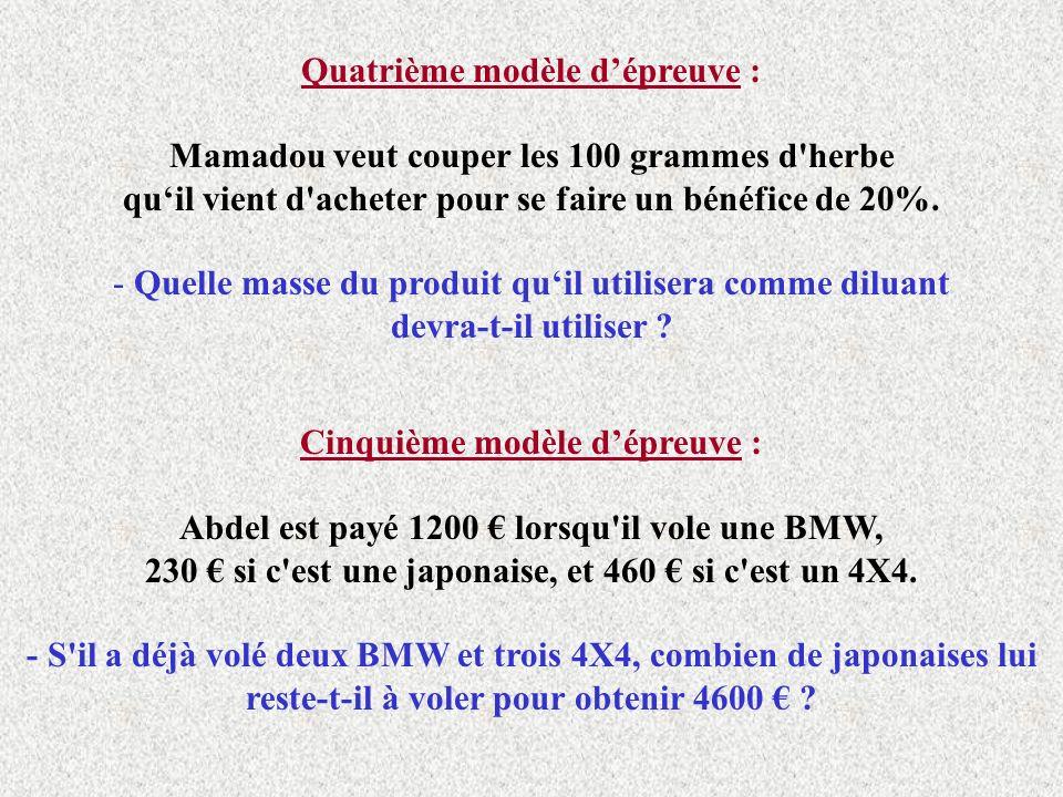 Quatrième modèle dépreuve : Mamadou veut couper les 100 grammes d herbe quil vient d acheter pour se faire un bénéfice de 20%.
