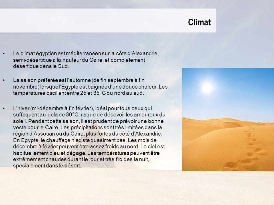 Climat Le climat égyptien est méditerranéen sur la côte d'Alexandrie, semi-désertique à la hauteur du Caire, et complètement désertique dans le Sud. L
