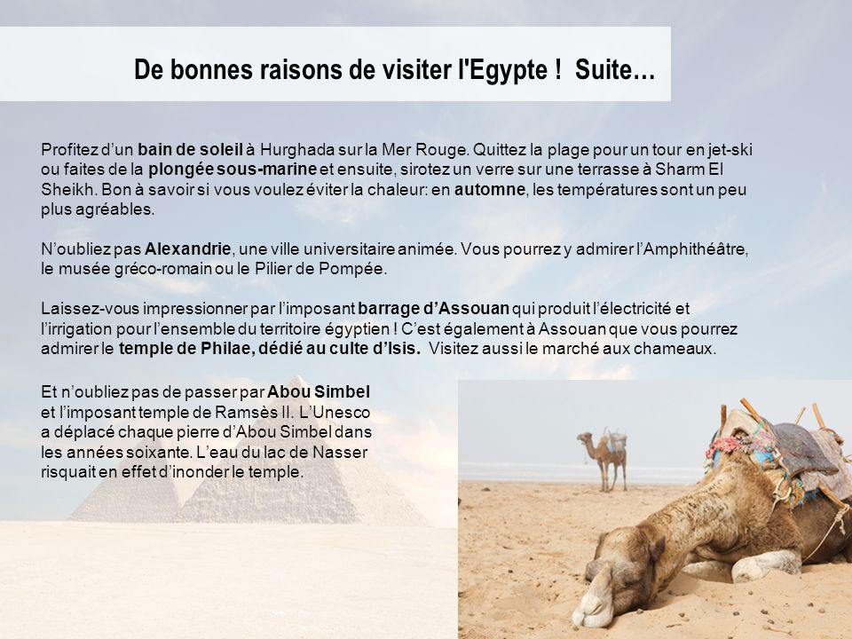 De bonnes raisons de visiter l'Egypte ! Suite… Profitez dun bain de soleil à Hurghada sur la Mer Rouge. Quittez la plage pour un tour en jet-ski ou fa