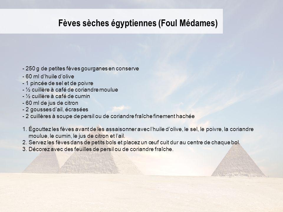Fèves sèches égyptiennes (Foul Médames) - 250 g de petites fèves gourganes en conserve - 60 ml dhuile dolive - 1 pincée de sel et de poivre - ½ cuillè