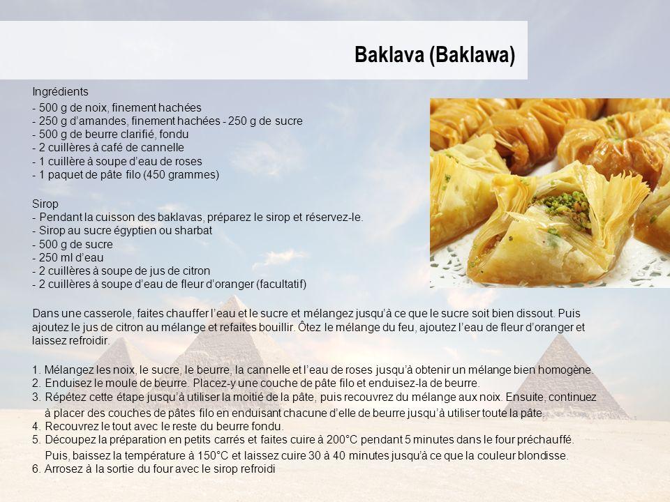 Baklava (Baklawa) Ingrédients - 500 g de noix, finement hachées - 250 g damandes, finement hachées - 250 g de sucre - 500 g de beurre clarifié, fondu - 2 cuillères à café de cannelle - 1 cuillère à soupe deau de roses - 1 paquet de pâte filo (450 grammes) Sirop - Pendant la cuisson des baklavas, préparez le sirop et réservez-le.