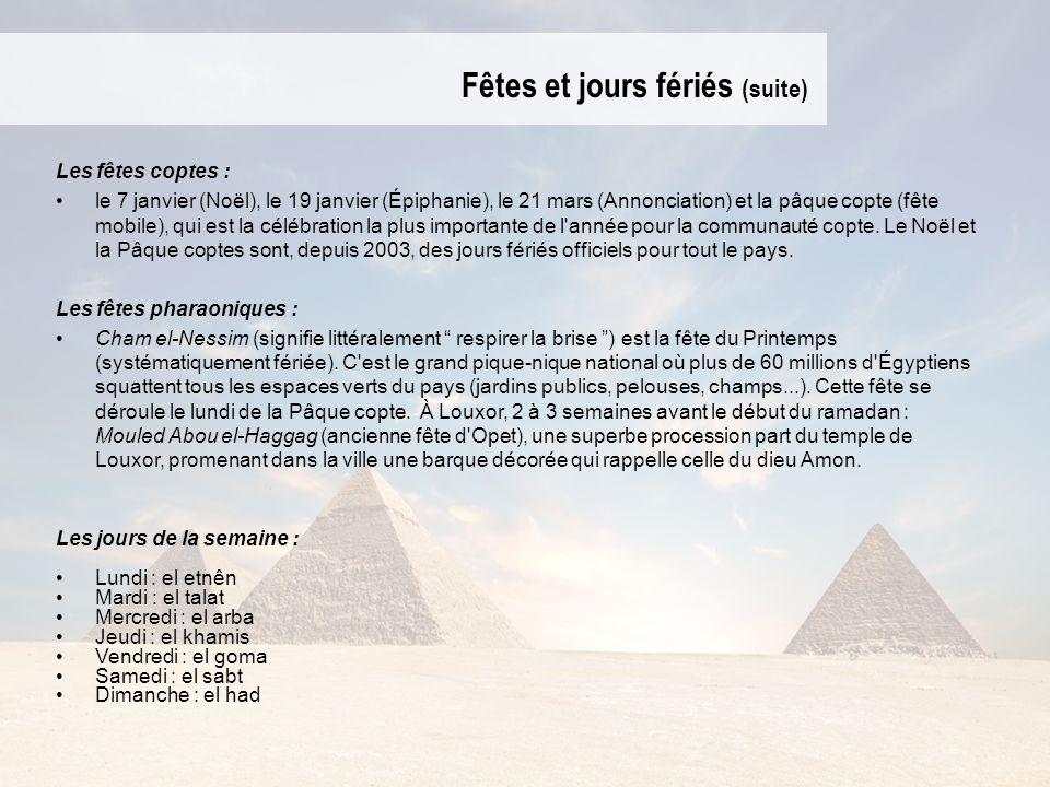 Fêtes et jours fériés (suite) Les fêtes coptes : le 7 janvier (Noël), le 19 janvier (Épiphanie), le 21 mars (Annonciation) et la pâque copte (fête mob