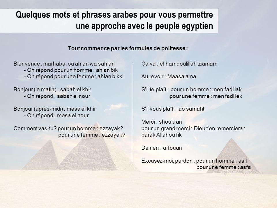 Quelques mots et phrases arabes pour vous permettre une approche avec le peuple egyptien Bienvenue : marhaba, ou ahlan wa sahlan - On répond pour un h