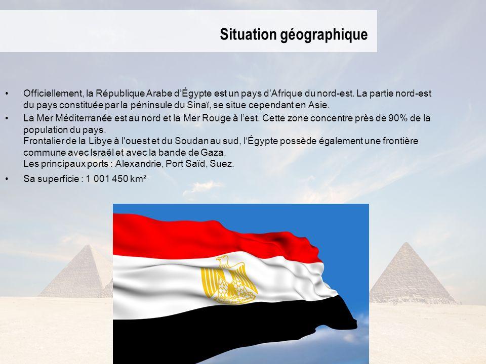 Situation géographique Officiellement, la République Arabe dÉgypte est un pays dAfrique du nord-est. La partie nord-est du pays constituée par la péni