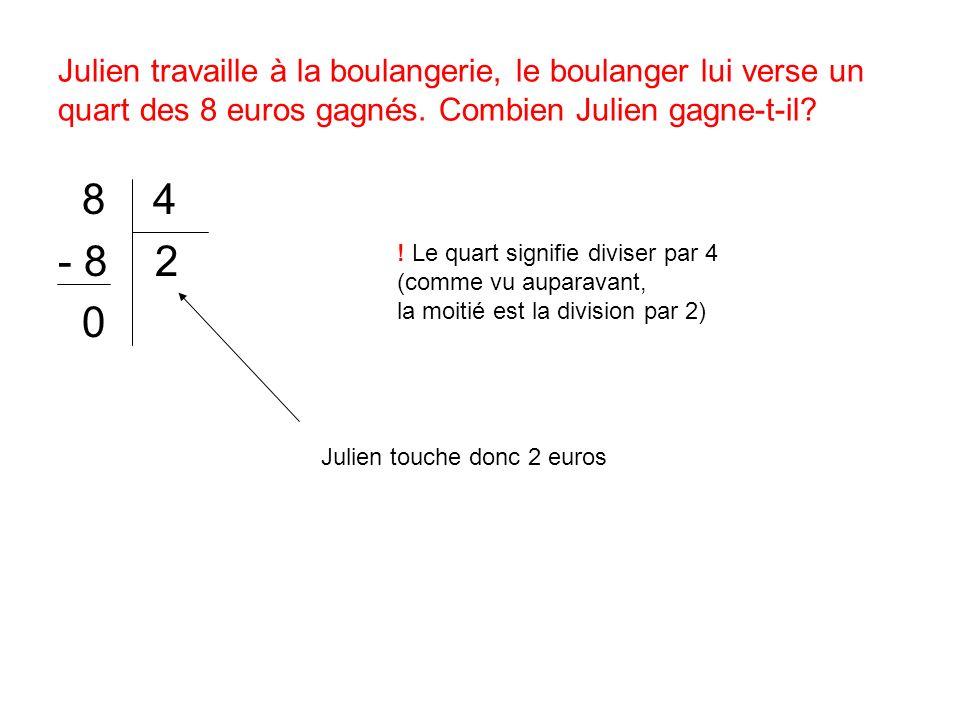 Julien travaille à la boulangerie, le boulanger lui verse un quart des 8 euros gagnés. Combien Julien gagne-t-il? 8 4 - 8 2 0 ! Le quart signifie divi