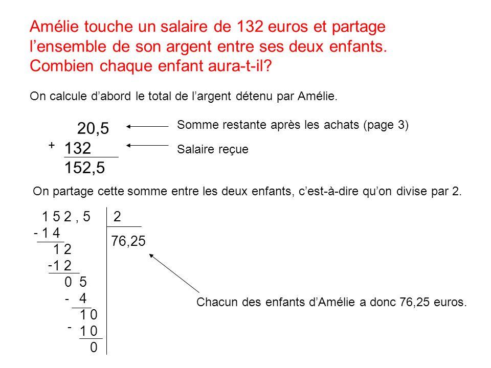 Amélie touche un salaire de 132 euros et partage lensemble de son argent entre ses deux enfants. Combien chaque enfant aura-t-il? On calcule dabord le