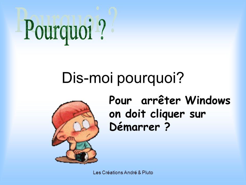Les Créations André & Pluto Dis-moi pourquoi? Pour arrêter Windows on doit cliquer sur Démarrer ?